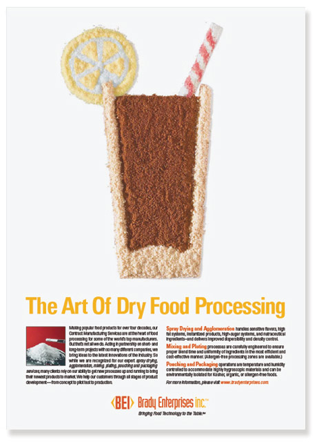Ad with illustration made with processed dry foods