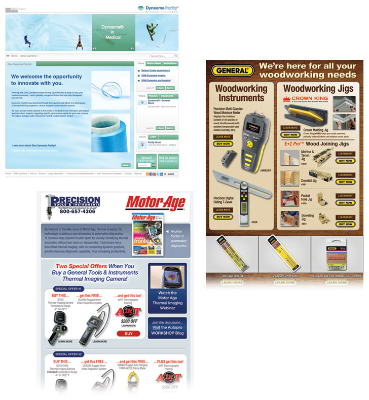 Three landing pages from Dyneema, General Tools and Instruments, and Precision Tools and Instruments