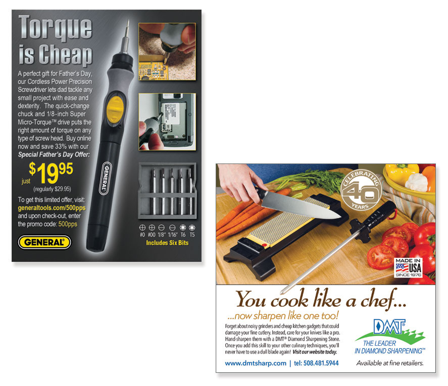 Two Quarter-page Ads featuring hand tools