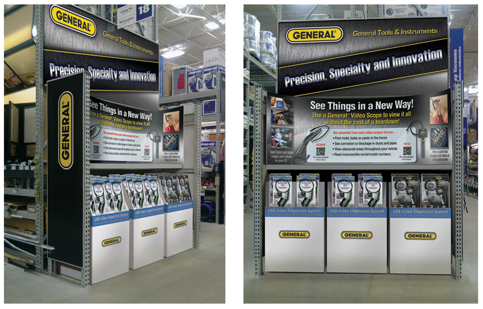 Mock-ups of In-store product displays for Home Depot