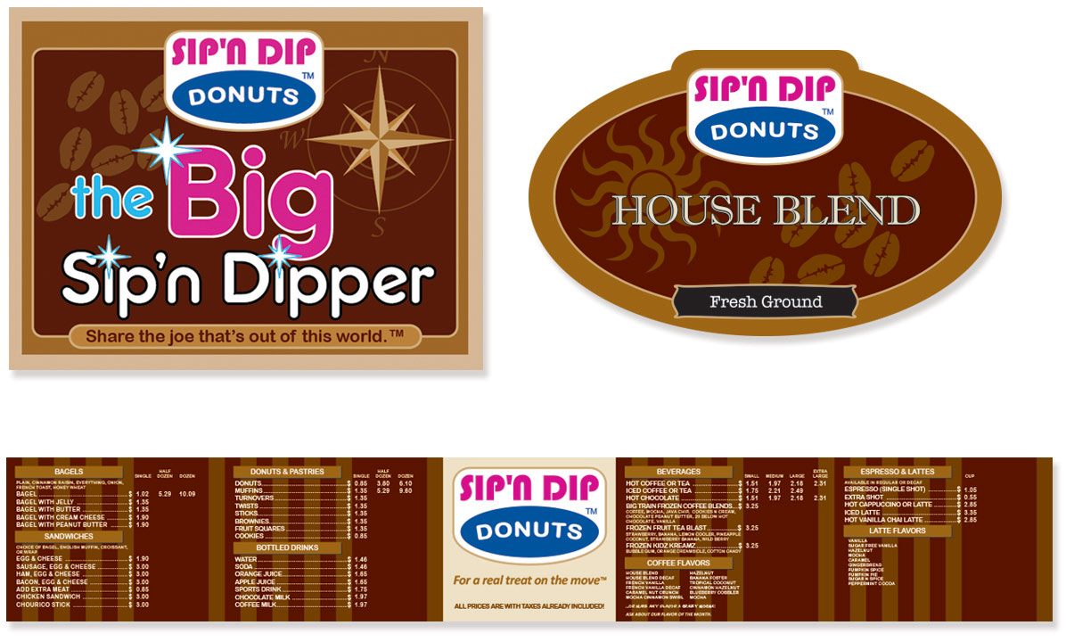 Sip-n-dip Donut Shop Packaging, labels and menu board