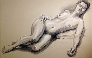 Female Reclining Figure Charcoal Drawing